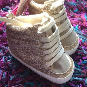 Gold glitter hightop sneakers NWT